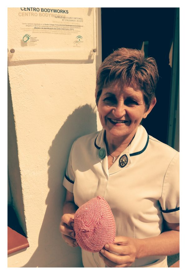 Estelle Mitchell supporting Knitted Knockers on the Costa del Sol