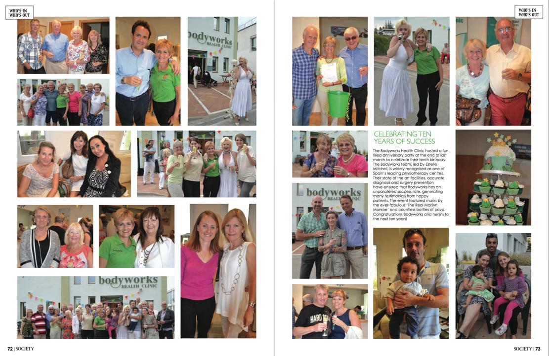 Bodyworks 10th Birthday Party in Society Magazine