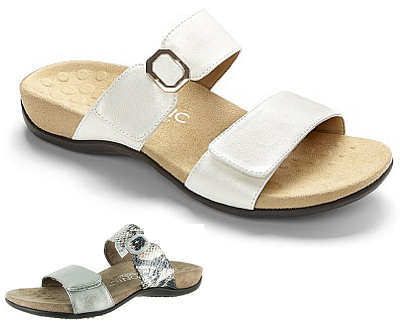 Vionic Womens Orthotic Sandals - Camila in white or pewter