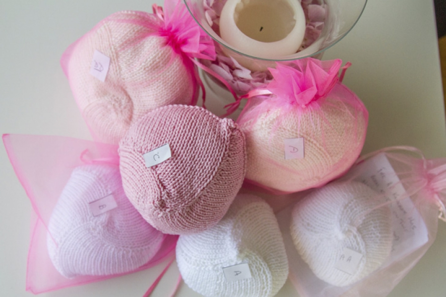 A Collection of Knitted Knockers in various cup sizes